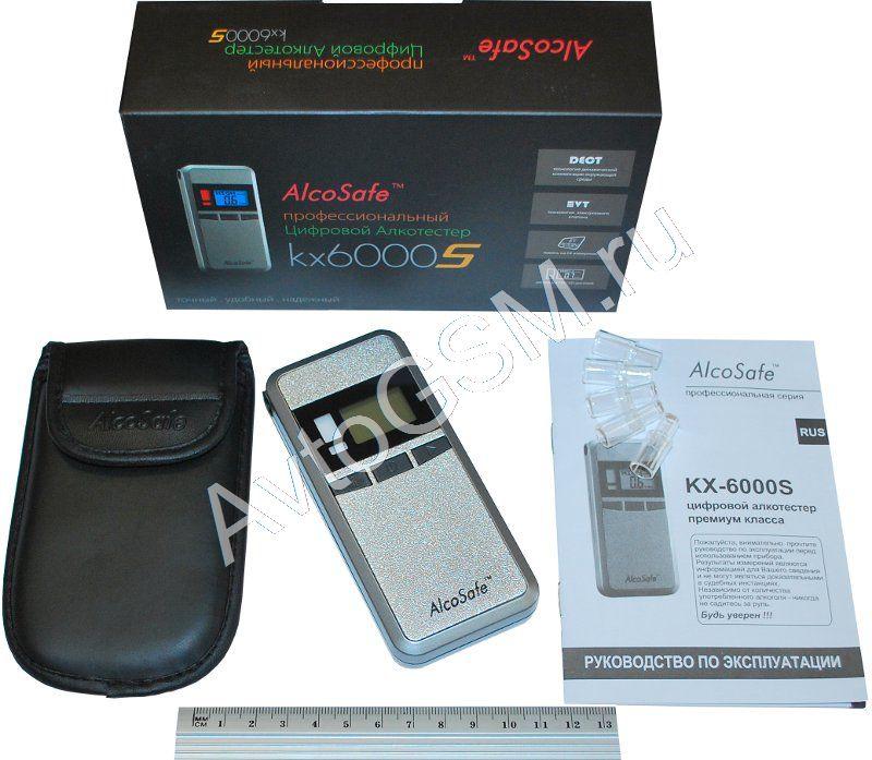 AlcoSafe kx-6000SАлкотестеры<br>- двойной дисплей, процессор XENSE, память на 64 измерения + чехол в комплекте. AlcoSafe kx-6000S - одна из самых современных и высокофункциональных моделей в линейке алкотестеров бренда AlcoSafe. Алкотестер AlcoSafe kx-6000S выполнен в оригинальном дизайне, отличается небольшими габаритными размерами, а также имеет простое управление. Новейший процессор нового поколения XENSE, технология динамической компенсации окружающей среды (DECT™) и высокочувствительный сенсор обеспечивают точность и стабильность измерений.<br>