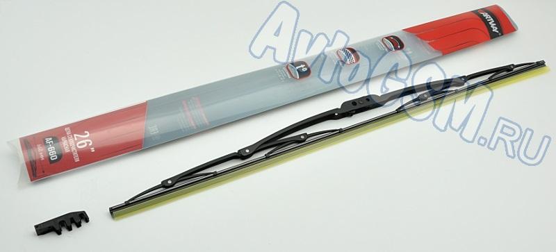 ARTWAY AF-660Щетки стеклоочистителя<br>26 дюймов, 660 мм - крепление Male / Female Pin Arm, пружинная сталь, тефлоновое покрытие, всесезонное использование, каркасная конструкция. Эта щетка имеет каркасную конструкцию. Ее длина - 66 см, или 26 дюймов. Она фиксируется при помощи крепления типа Male / Female Pin Arm . Производитель позаботился о долговечности изделия, применив для корпуса прочнейший материал - легированную сталь. Такая сталь не подвержена коррозии, что особенно важно с учетом эксплуатации в условиях повышенной влажности. Помимо этого, присутствует тефлоновое покрытие. Гибкая резинка, с помощью которой производится очищение, не боится жары и холодов, сохраняя эластичность в большом диапазоне температур (от -40 до +80 градусов). Благодаря этому Вы сможете использовать щетку круглый год, отказавшись от сезонной замены.<br>