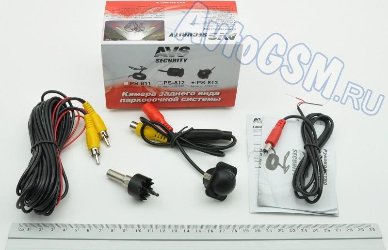 AVS PS-813Универсальные камеры заднего вида<br>- миниатюрные размеры, световая чувствительность 0,1 Lux, угол обзора 120 градусов, парковочные линии, герметичный и надежный корпус. AVS Security PS-813 порадует своей небольшой стоимостью и наличием достаточно хороших технических характеристик. Данное устройство является универсальной камерой и подойдет для установки практически в любой автомобиль с напряжением бортовой сети 12В. Ознакомимся с ним подробнее.<br>