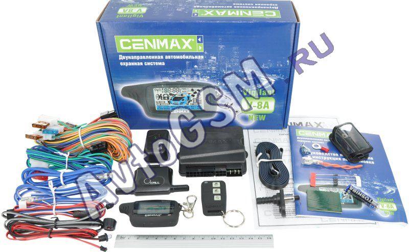 Cenmax Vigilant-v8aС обратной связью<br>. Cenmax Vigilant V-8A new - это автомобильная сигнализация бюджетного класса, которая способна не только защитить автомобиль, но и сделать его эксплуатацию более комфортной. Данная модель автосигнализации оснащена довольно широким рядом охранных и сервисных функций, имеет удобное управление и подходит практически на любые модели автомобилей.<br>