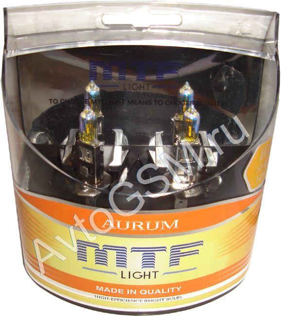 MTF Light Aurum H1 55WH1<br>. Лампы MTF Light обеспечивают качественный, яркий свет. В комплект входят 2 галогеновые лампы под цоколь H1, 55W 12V. Цвет золотистый. Для вождения в сложных метеоусловиях. <br>Все лампы MTF Light изготавливаются из специального стекла, поглощающего большую часть ультрафиолетового излучение (маркировка UVSTOP). Безопасны для пластмассовых частей фар.<br>
