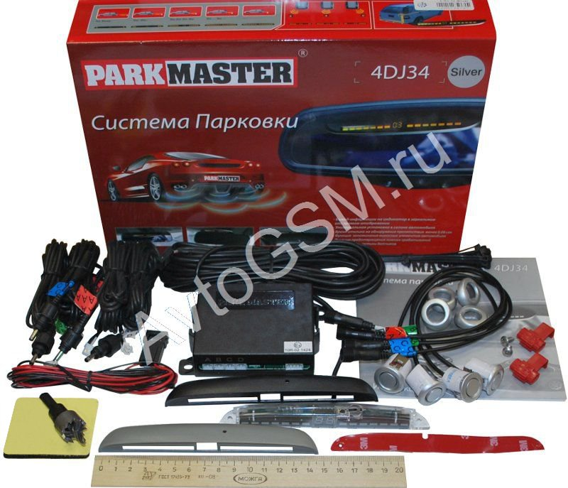 ParkMaster 4-DJ-34 (4 серебристых датчика)Парктроники для заднего бампера<br>Внимание!!!!Подогрев сиденья Емеля 1  в комплекте !!!. ParkMaster 4-DJ-34 - современная парковочная система, которая отличается большим набором функций, простотой в установке и стильным компактным дисплеем.<br>