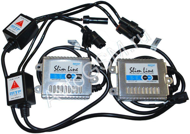 MTF Light Slim Line New H27 (88S) 6000K с лампамиH27/88S<br>MTF-Light - блоки 5-го поколения, удобный монтаж, виброустойчивость, высокая интенсивность свечения, энергоэкономичность. В рассматриваемый комплект ксенона включены блоки 5-го поколения MTF-Light Slim Line, которые отличаются очень небольшими габаритами, благодаря чему удобны в монтаже. Данные блоки имеют усовершенствованный процессор, отличаются высокой гидроизоляцией, виброустойчивы и работают в широком диапазоне температур. Надежные блоки дополняют фирменные ксеноновые лампы MTF-Light с цоколем H27 и цветовой температурой 6000K. Данные лампы излучают интенсивный белый свет с небольшим синим оттенком. Такой цвет свечения ламп способен сделать любой автомобиль еще более привлекательным.<br>